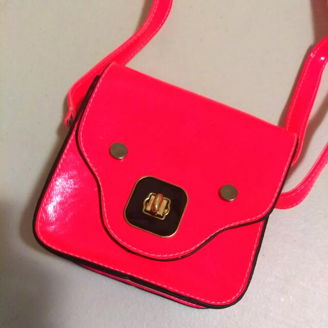 Neon Boxy Sling Bag - Pink