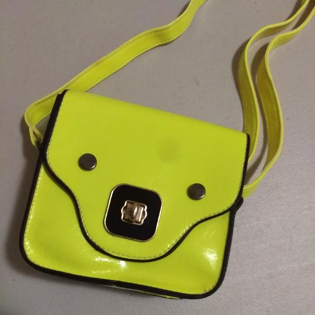 Neon Boxy Sling Bag - Yellow