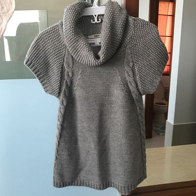 Oasis Gray Knitted Draped Top