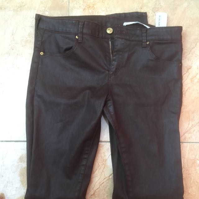 Original Zara Leather Jeans (Brown)