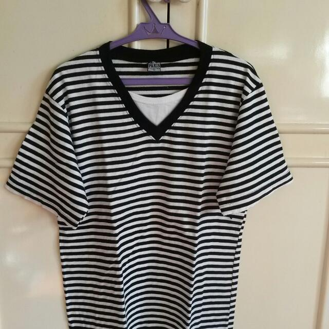 Preloved Striped V-neck Shirt