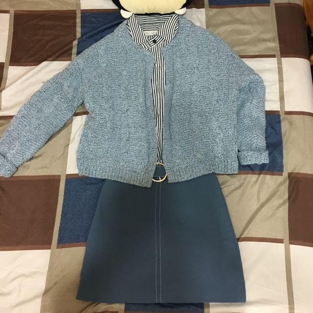 Rainbowshop🌈灰藍色針織外套
