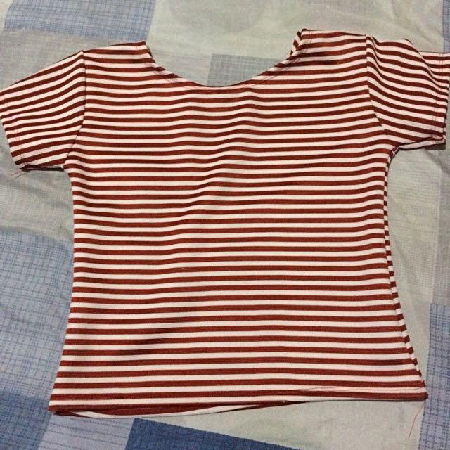 Red Stripes Crop Top