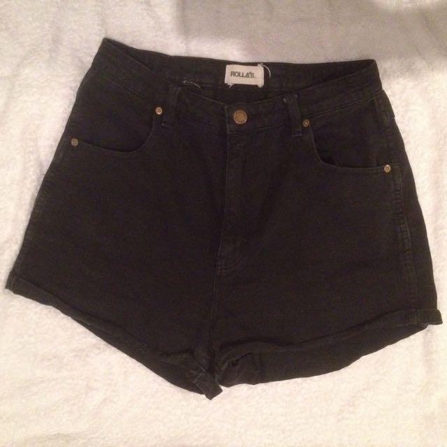 Rolla's Black Denim Shorts