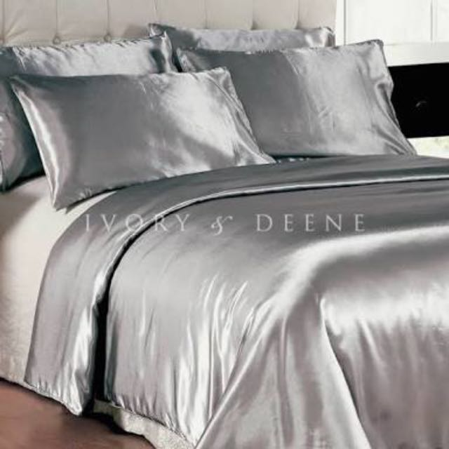 Silver Ivory And Deene Satin Queen Bed Set