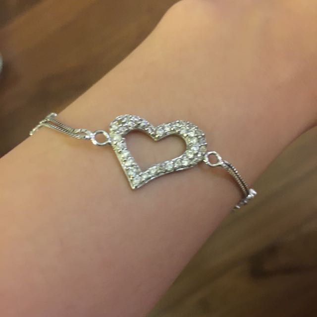 Sterling Silver Heart Bracelet (with free gift)
