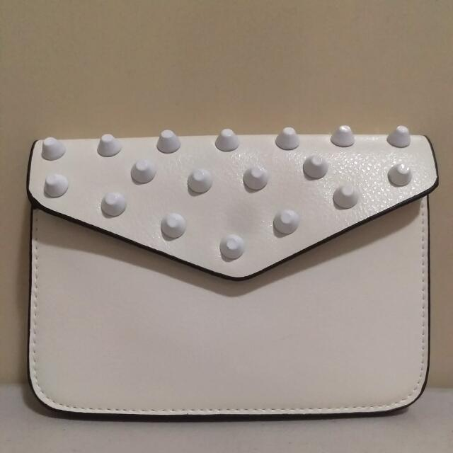 Studded Mini Sling Bag - White