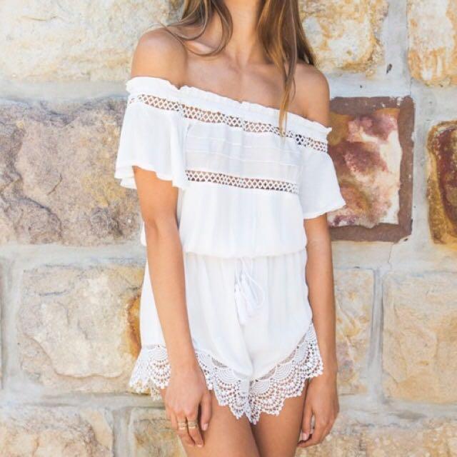 White Fox Boutique Bailey Crochet Romper Playsuit