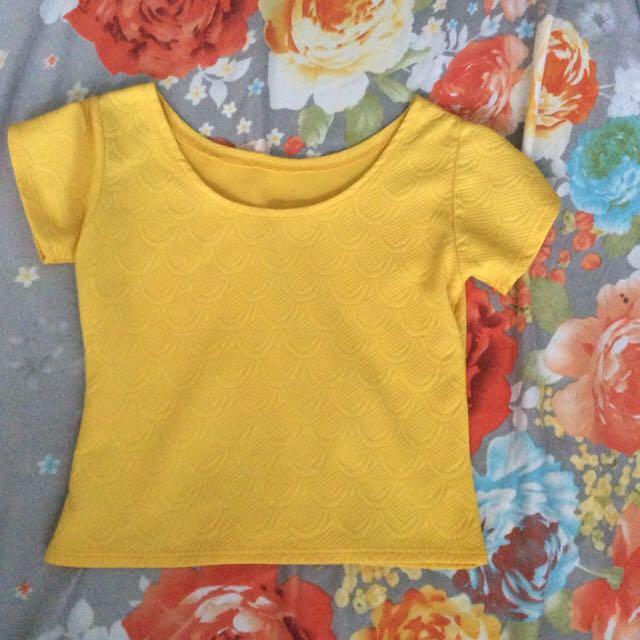Yellow Cropped Top Shirt