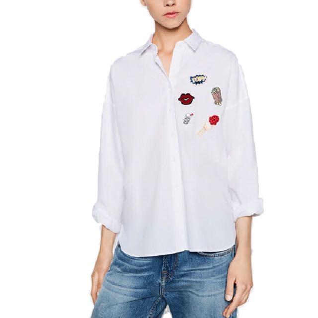 Zara Inspired Lips & Popcorn Button Down M