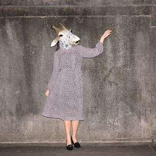 {:::Giraffe 長頸鹿人:::}_小荷葉圓領蝴蝶結側排釦長袖古著洋裝