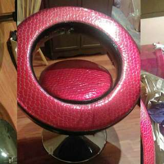 2 Red Swivel Chairs For Sale