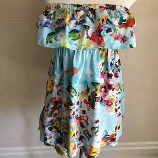Large Zara Floral Hippie Tube Top Dress
