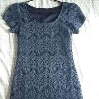 Crochet Navy Dress