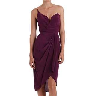 Zimmermann Silk One Shoulder Dress Plum