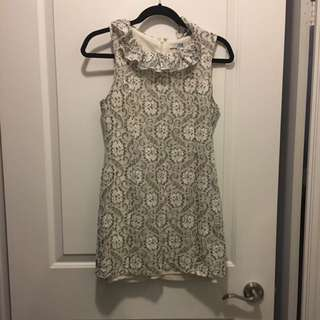 Forever21 Lace Dress (White And Dark Blue) Size S