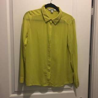 Forever21 Bright Yellow Dress Shirt Size S