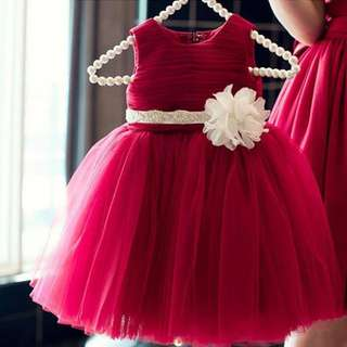 3b641400b0 Kids Dinner Dresses Gaun Flower Girl - Maroon