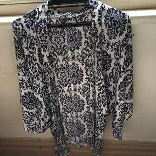 Kimono - Navy Blue And White