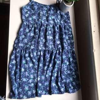 Flowy Blue Rose Dress