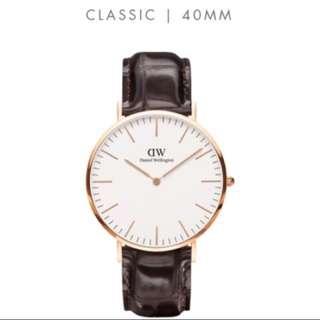 Dw鱷魚皮帶錶