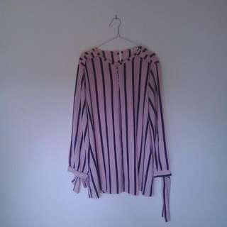 Blouse Pink Stripe Black