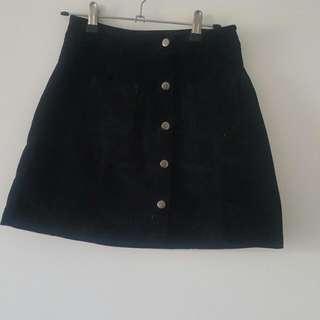 Button Up Black Skirt