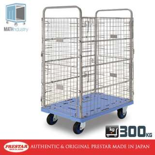 300kg Double Wire Mesh Sides Trolley Heavy Duty Plastic Base Handtruck PRESTAR (Made in Japan)