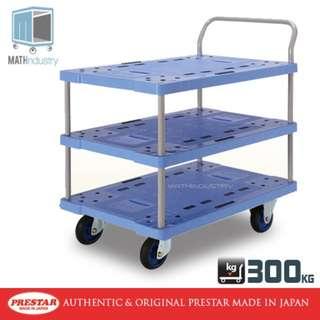 300kg Triple Deck Single Handle Handtruck  Heavy Duty Plastic Trolley PRESTAR (Made in Japan)