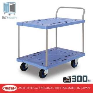 300kg Double Deck Single Handle Handtruck Heavy Duty Plastic Trolley PRESTAR (Made in Japan)