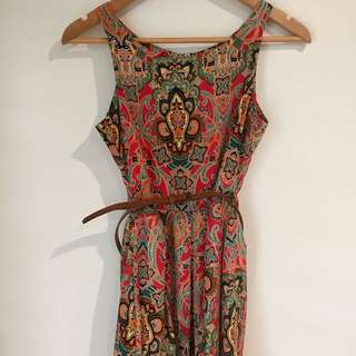 Silk Short Dress With Belt