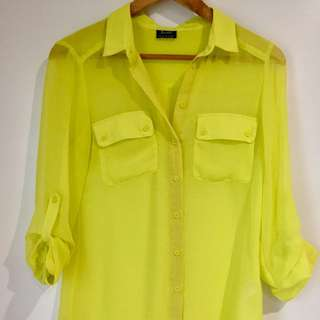 Bardot Neon Yellow Button-up Blouse