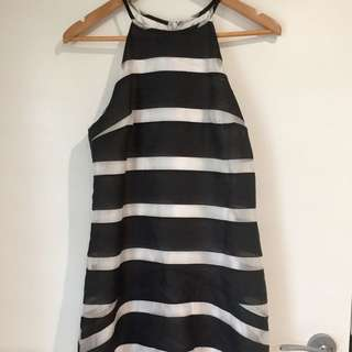 Seduce Navy & White Stripe Dress