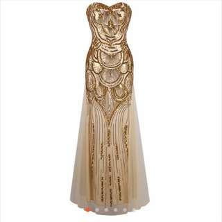 [FOR RENT ONLY] SEQUINNED GOLD DRESS/GOWN AND CAPE TOP
