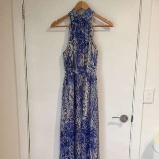 Blue & White Full Length Halter Neck Dress