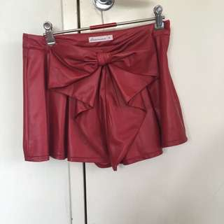 Size 8 Pleather Skort w/Bow