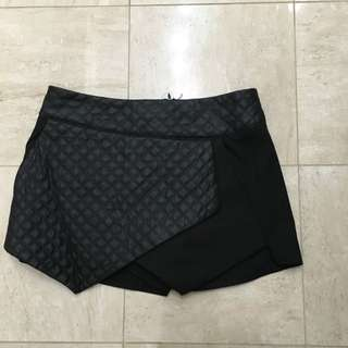 Size 10 Black Skort with Pleather Detailing