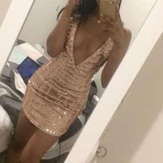 Low Cut Rose Gold Sequin Dress