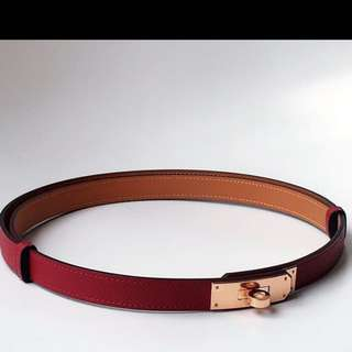 Hermes New Rose Gold Belt In Grenat Colour