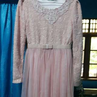 Dress Muslim Elegant..soft Pink..fit To S