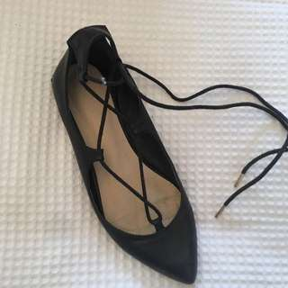 Black Lace Up Ballet Pumps Size 37