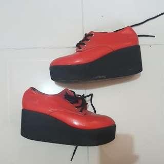 Orange Wedge Shoes Size 5