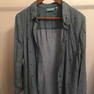 Blue Illusion Denim Shirt Size S