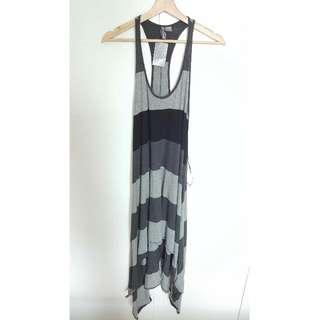 全新 H&M 無袖 橫條 裙擺不規則 長洋裝 長洋 洋裝