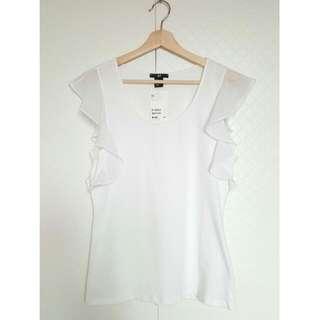 全新 H&M 荷葉袖 無袖 大圓領 上衣 荷葉邊 雪紡
