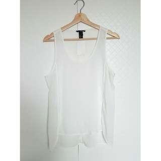 全新 H&M 雪紡 打折 前短後長 背心 無袖背心