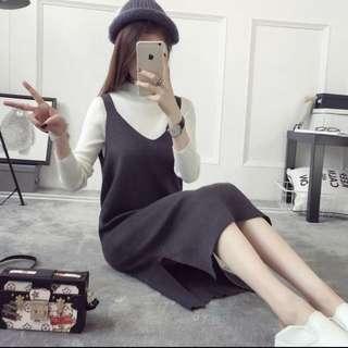 韓版 中長毛衣裙 吊帶裙 連身裙 背心