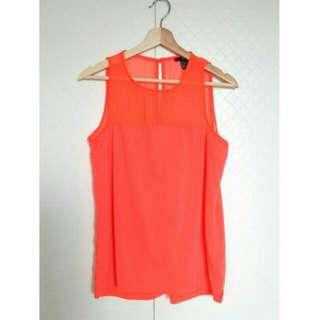 全新 H&M 螢光橘 雪紡透膚拼接背心 透紗