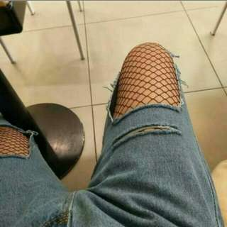 Ripped Jeans + Fishnet Tights