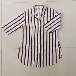 Fab Vertically-striped 3/4 Sleeves Button Down